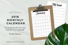 FREE 2018 Calendar + Weekly Planner Printables
