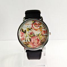 Floral mujeres del reloj de los relojes de pulsera de reloj de madera por FreeForme