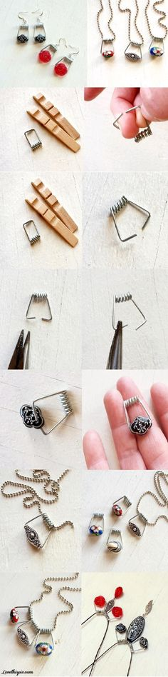 DIY jewelry using clothespin springs
