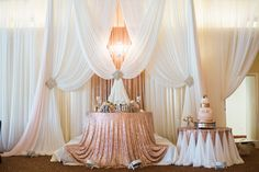 Sweetheart table on stage next to the cake table... Love that the cake was always in view! #wedding #reception #blush #rosegold