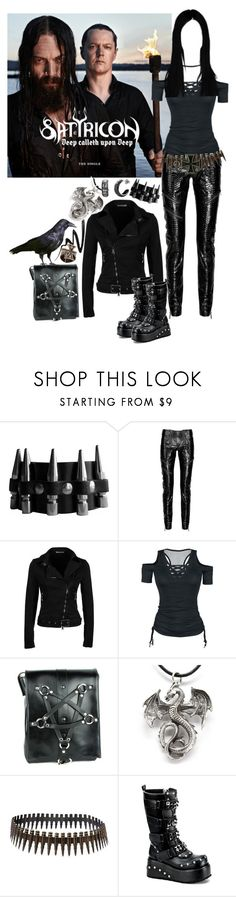 """""""Satyricon"""" by jeanettebeatrice ❤ liked on Polyvore featuring Emilio Pucci, Patrizia Pepe, Stila, Bullet, Mixology NYC, black, blackmetal and satyricon"""