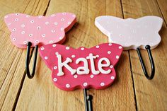 wooden butterfly hooks hand painted room decor for children by oscar & ollie made to order (Diy Wall Hooks) Butterfly Bathroom, Butterfly Room, Butterfly Fairy, Diy Wall Hooks, Wooden Crafts, Diy Crafts, Butterfly Decorations, Kids Bath, Cool Diy Projects