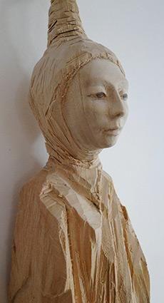 Pointed Head, Kristina Johlige Tolstoy, wood sculpture
