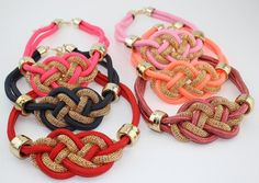 Fashion handmade cotton rope weaving Chinese knot necklace punk Necklace as gift #Handmade