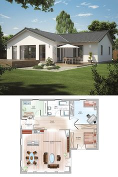 ICON corner bungalow with hipped roof - Dennert solid house Modern House Floor Plans, Modern Bungalow House, Home Design Floor Plans, Small House Plans, Modern House Design, Tuscan Style Homes, Cottage Plan, Sims House, Stone Houses