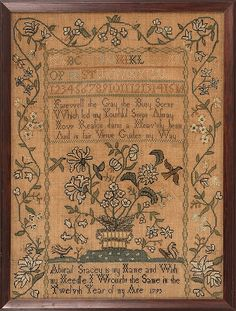 Abigail Stacey's sampler, circa 1795. Note black back stitching around all flowers and leaves.