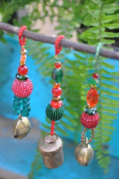 Christmas Tree Boho Bell Ornaments decoration-set of 6 image 2 Christmas Crafts For Kids, Christmas Projects, Handmade Christmas, Christmas Fun, Beaded Ornaments, Christmas Tree Ornaments, Beads After Beads, Beaded Curtains, Holiday Tree