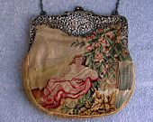"Petit Point Purse Scenic Woman In Garden Sterling Silver Art Nouveau Carriage Frame Tapestry Handbag Antique Bag Vintage 10"" Evening Bag"