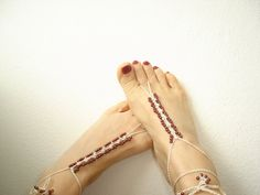 Foot Jewelry Anklet Brown beads anklet nude shoes by vyldanstyl, $13.90