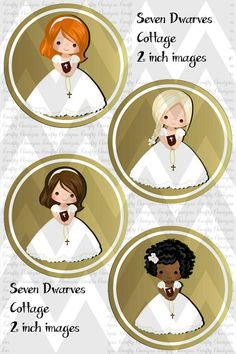 2 inch Gold Girls First Communion cupcake toppers First Communion Cards, Première Communion, Royal Icing Templates, Baptism Party, Minnie Birthday, Bottle Cap Images, Scrapbook Albums, Scrapbooking, Sticker Paper