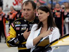 Ryan and Krissie Newman take in the National Anthem at Darlington Raceway