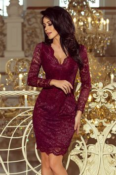 Chic Burgundy Long Sleeves V Neckline Lace Mini Dress Dress Outfits, Fashion Dresses, Strapless Party Dress, Evening Dresses, Formal Dresses, Festival Looks, Ladies Dress Design, Lace Dress, Ideias Fashion