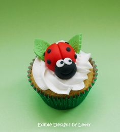 12 Edible Fondant Ladybugs Cupcake Toppers. $26.00, via Etsy.