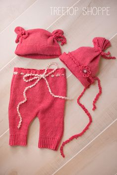 Perfectly Pink Newborn Pant and Hat 3-Piece Set Upcycled Fall Baby Pant Set with matching tieback