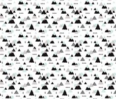 Geometric mountain illustration winter woodland fabric by littlesmilemakers on Spoonflower - custom fabric