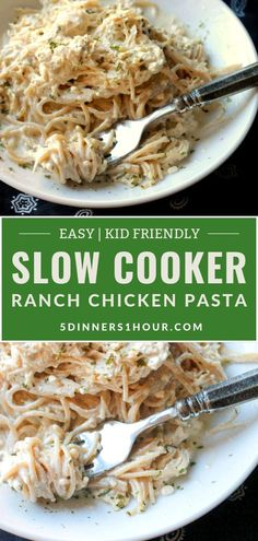 Easy Slow Cooker Ranch Chicken Pasta Dinner Recipe(Kid Friendly) | Easy Healthy Recipes & Meals for Families - This ranch slow cooker chicken pasta dinner is one that your kids will love! Simply pour all the ingredients into the slow cooker or crockpot & create a creamy sauce that will have your kids wanting more. Click through for the full recipe! | 5 Dinners 1 Hour #healthyrecipes #easyrecipes #quickrecipes #familyrecipes #kidfriendlyrecipes #dinnerrecipes #chickenrecipes #slowcookerre