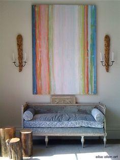 helloooooooo!!!!!!!!!  elise allen art Interiors Venetian Plaster with acrylics on wood.LOVE that seatee in blue-old world french. An ID must have...