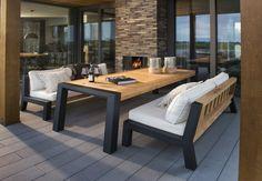 Prachtige Beach 7 Lounge-Diningset Bellevue Aluminium Teak. Deze stoere loungeset is geschikt voor zowel lounge als dining.