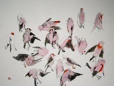 "Saatchi Online Artist: olga gal; Pen and Ink, 2007, Drawing ""Birds in my garden"""