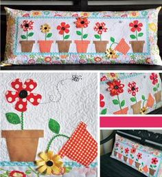 May Flowers Bench Pillow Pattern Download available at connectingthreads.com
