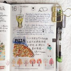 Home alone = pizza time! ould I be able to experience that in Boston? #doodle #drawing #diary #daily #dailysketch #journal #hobo #hobonichi #washi #design #絵日記 #手帳 #ほぼ日 #文具控 #文具 #winsorandnewton #手繪 #水彩 #手帳好朋友 #stationery #penguins #travel