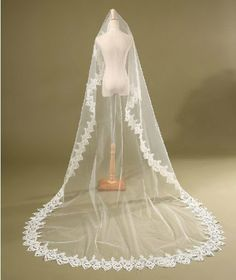 Luxury One-tier White Cathedral Lace 16.5 Feet Wedding Veil With No Comb For Bridal Gown nero0617,http://www.amazon.com/dp/B00IJ4TULE/ref=cm_sw_r_pi_dp_o2sgtb10PZRW11JZ 16.5 feet!
