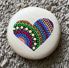 Excited to share this item from my shop: Heart Dot Mandala Wooden Stone Mandela Rock Painting, Stone Art Painting, Dot Art Painting, Mandala Painting, Mandela Art, Galaxy Painting, Pebble Painting, Mandala Painted Rocks, Painted Rocks Craft
