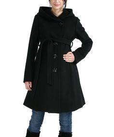 Look at this #zulilyfind! Black Lauren Wool-Blend Maternity Coat by MOMO Maternity #zulilyfinds