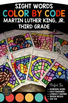 These Martin Luther King, Jr. Color by Sight Word pages are guaranteed to put the FUN back into learning! If you are looking for an engaging way for your third grade students to practice sight words, increase their reading fluency, and improve their comprehension skills, this resource is the one!  Included are eight differentiated pages programmed with high frequency words from the Dolch and Fry sight word lists.  Perfect for morning work, fast finisher activities, literacy centers, and more!