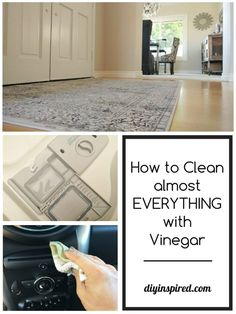 How to Clean almost everything with Vinegar including DIY cleaning solutions and tips and hacks for cleaning your kitchen, bathroom, in your laundry room, and car!