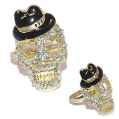 Rhinestone skull adjustable ring