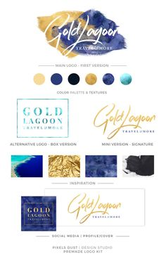 LOGO KIT Gold and Navy Logo Watercolor Logo by PixelsDustDesign