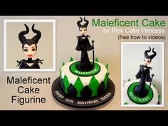 Halloween Maleficent Cake How to by Pink Cake Princess - YouTube