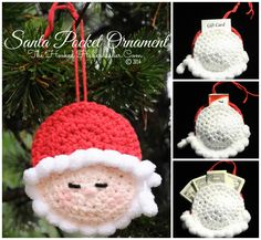 Santa Pocket Ornament - Uses puff ball yarn...could easily make beard and hat with shell or puff stitches or pom poms (homemade or store bought)