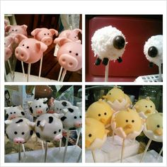 Cake pops I made for my friends baby shower. Pigs are decorated with fondant. Sheep rolled in coconut flakes. Cows with fondant and 1/2a jelly bean. Chicks with fondant, chocolate covered sunflower seed and baby gerber puffs for wings.