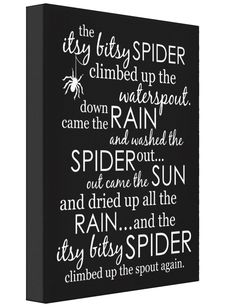 Itsy Bitsy Spider Wrapped Canvas - Available in multiple colors, as posters, wrapped canvas or wood prints in multiple sizes.