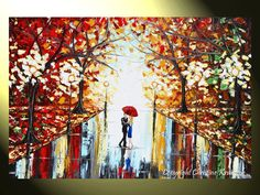 """GICLEE PRINT Art Abstract Painting Couple Red Umbrella Dancing Rain City Park Large Canvas Prints Wall Decor xl Sizes to 60"""" - Christine"""