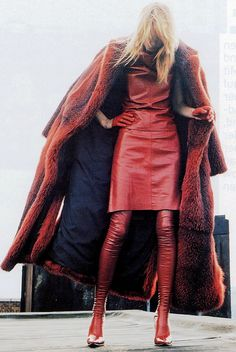 Red leather dress and fab fur coat.