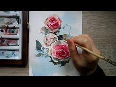 Watercolor red rose demonstration - YouTube
