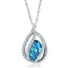 Blue Aquamarine Teardrop Swarovski Crystal Pendant Necklace For Women Pugster.com