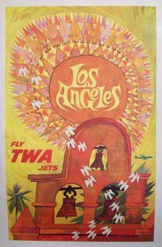 Original TWA Los Angeles David Klein Poster by HodesH on Etsy, $450.00