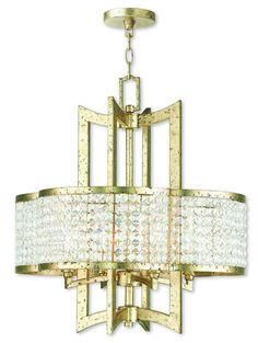 Livex Lighting Grammercy Hand Applied Winter Gold Chandelier 50575-28