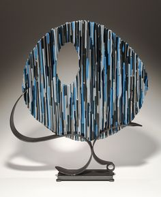 Fused Glass and Metal Sculpture, Blue Circle by Bonnie Hinz
