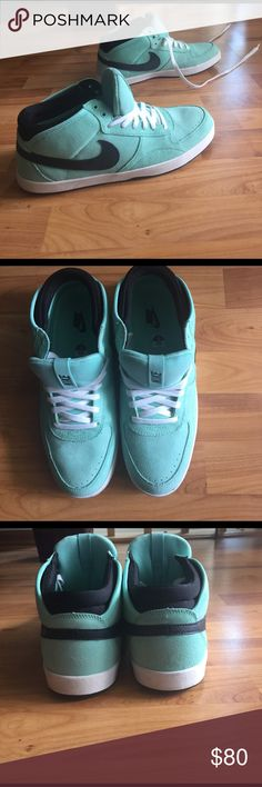 Mint Suede Nikes with Black Swoosh size Men's 11 These sneakers are in great condition, and hardly worn.        These are a great statement piece!!  Feel free to ask questions or make offers :) Nike Shoes Sneakers