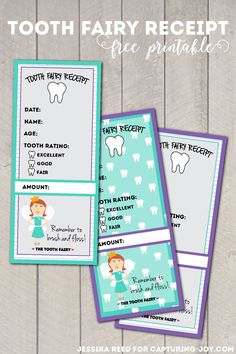 Tooth Fairy Receipt Free Printables on Capturing-Joy.com!