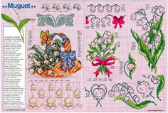 Gallery.ru / Фото #21 - Encyclopedie du point de croix ( Fleurs arbres et feuilles ) - tymannost Cross Stitch Heart, Cross Stitch Flowers, Cross Stitch Patterns, Lily Of The Valley, Le Point, Bullet Journal, Crochet, Crafty, Embroidery