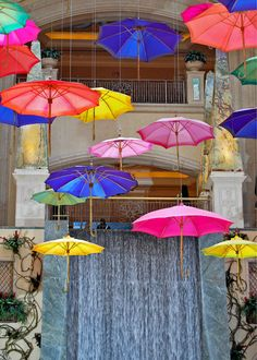 art trading card Falling Umbrellas Las Vegas art exhibit metallic photograph