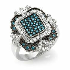 1.01ct Blue and White Diamond Vintage Design Ring