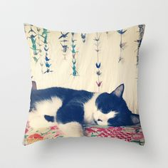 Cat Nap Throw Pillow by Post Haste Art - $20.00 Love this!