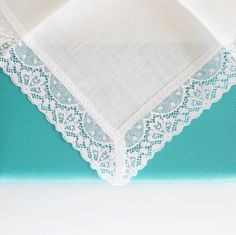 Monogrammed Lace handkerchief perfect for gift giving and weddings.